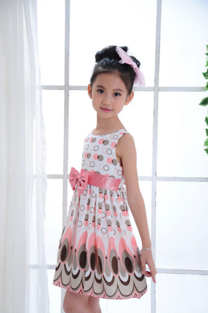 1 Pc Kids Girl Baby Children Peacock Chiffon Dresses Clothing Sets Outfit 2-7Y
