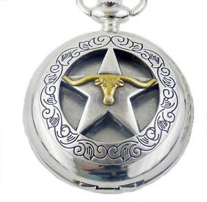 Orologio-da-tasca-con-coperchio-incrinato-CATENA-TEXAS-solitario-STAR