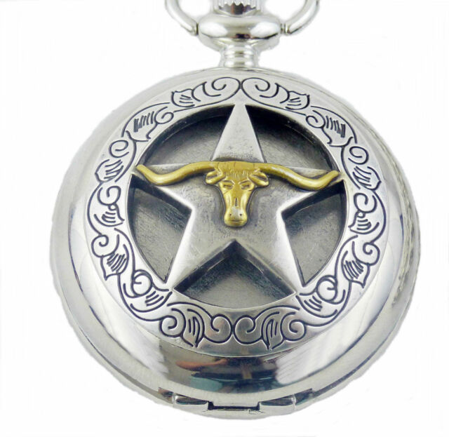 Pocketwatch With Spring Loaded Lid And Chain Texas Lone Star