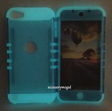 For iPod Touch 5th & 6th Gen - Blue GLOW IN THE DARK Hybrid Armor Case Cover