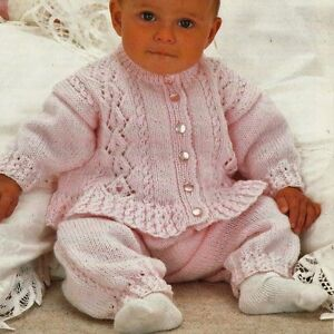 b404fddb6 1431 Baby Girl DK Jacket   Pants Vintage Knitting Pattern 16-22