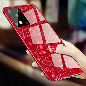 For Samsung Galaxy S20 Ultra S10+ S9 S8 Note 9 Tempered Glass Case Hybrid Cover