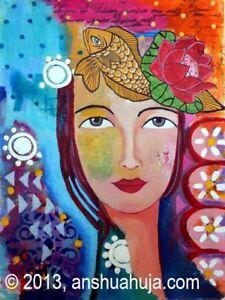 Initiative Kunst Original 'piscean Dreams' Abstrakthandgemalt Anshu Ahuja Sammeln & Seltenes