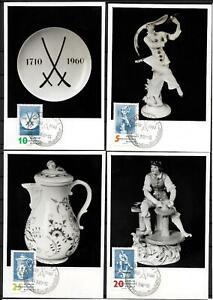GDR-4-X-Mk-Maximum-Card-With-Minr-774-250-Years-Porcelain-Meissen-1960