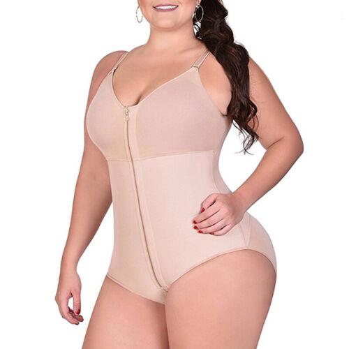 Ladies Waist Body Shaper Slimming Shapewear Zipper Tummy Control Bodysuit Tops