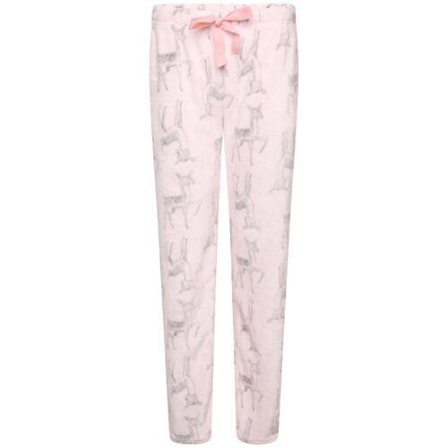 In Sizes 8-18 Ladies Adorable Pink Baby Deer Cosy Soft Fleece Lounge Pants