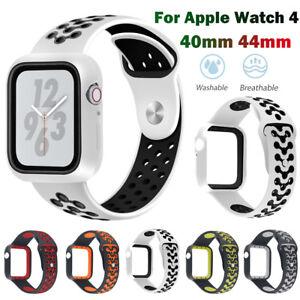 Silikon-Ersatz-Uhren-Armband-Strap-Schutzhuelle-2-in-1-fuer-Apple-Watch-Series-4