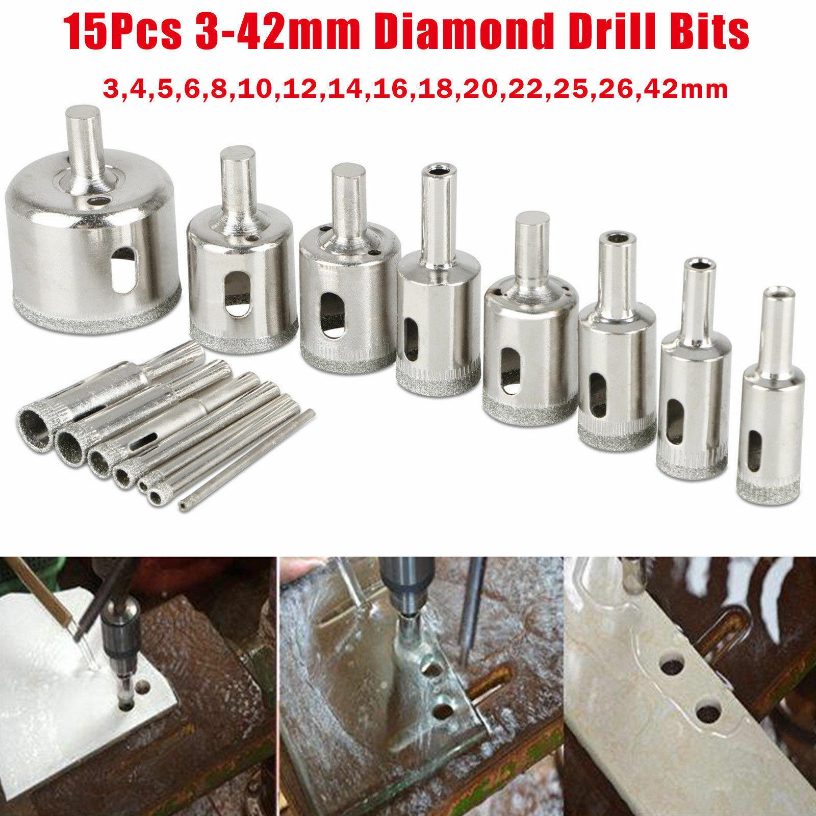 15Pcs Diamond Hole Saw Drill Bit Set coupe pour Carrelage Marbre Verre 3mm-42mm