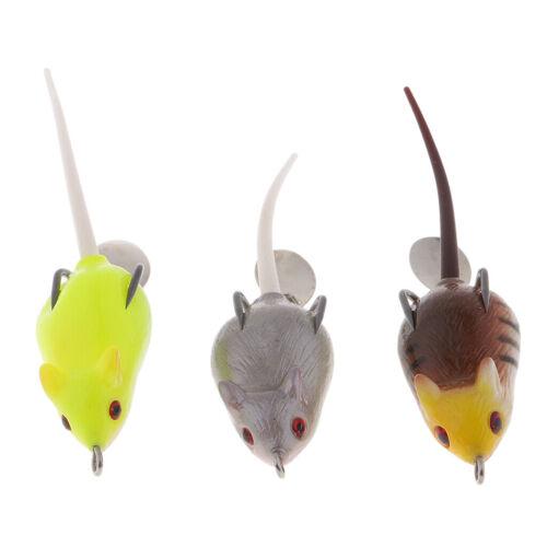 3 Stücke  Maus Geformt Angelköder Aus Gummi und Metall Mit Doppelte Widerhaken