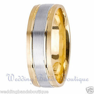 Image Is Loading 18K TWO TONE WHITE YELLOW GOLD MENS WEDDING