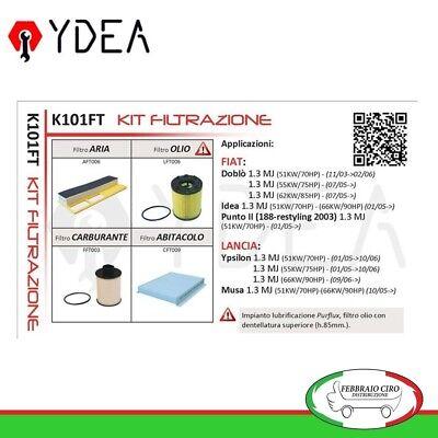 Kit 3 filtri tagliando Bosch FIAT DOBLO IDEA LANCIA YPSILON MUSA