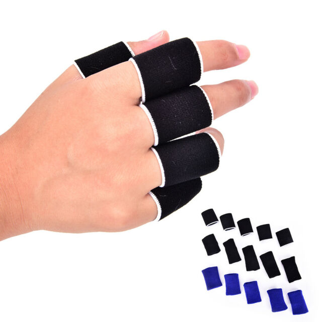 10x Breathable Stretchy Finger Protector Sleeve bandage Support Arthritis Spo LL