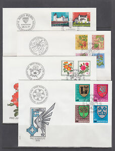Switzerland-Sc-B443-B478-FDC-1976-80-semi-postals-8-cplt-sets-on-8-FDCs