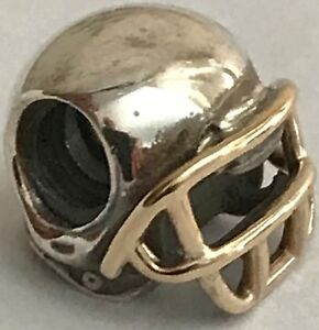 458cd2730 New and Genuine Pandora Charm Football Helmet w/14k Gold Retired ...