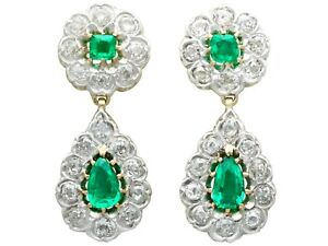 Victorian 3.18ct Emerald and 3.23ct Diamond, 12ct Yellow Gold Drop Earrings