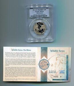 PCGS-PR68DCAM-South-Africa-2003-5c-Silver-Rhinoceros-Wildlife-Series-Graded-Coin