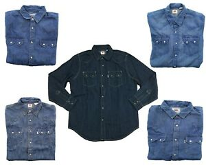 Levi-039-s-Levi-Strauss-Mens-Sawtooth-Denim-Snap-Button-Down-Western-LS-Shirt