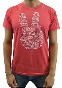 Coca-Cola-Men-039-s-Peace-Logo-Red-Heather-T-Shirt-New