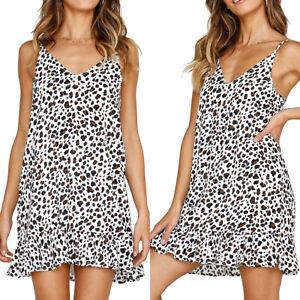 4ac45894c461 Women Ladies Leopard Print Slip Dress Holiday Beach Mini Dresses ...