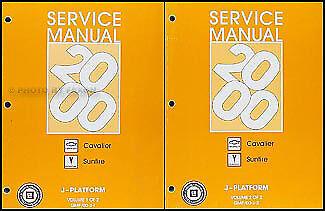 2000 Chevy Cavalier Pontiac Sunfire Repair Shop Manual Set LSZ24 SE GT Service