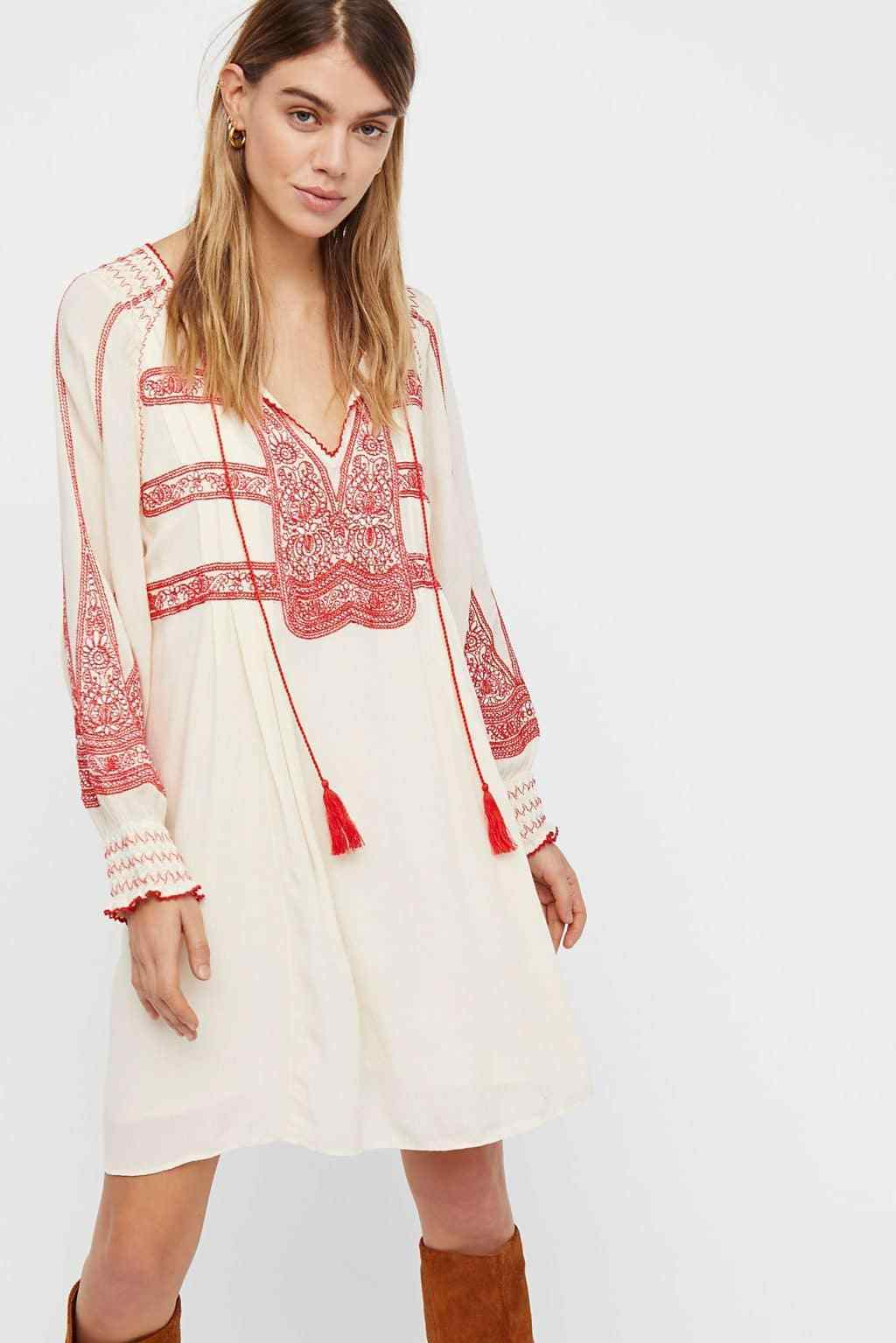 148 NWT FREE PEOPLE SzS WIND WILLOW EMBROIDERY LONG SLEEVE MINI DRESS CASHMERE