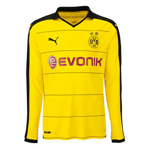 Puma-BVB-Borussia-Dortmund-Kinder-Langarm-Heimtrikot-Gr-152-Farbe-Gelb