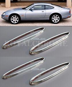 UK-STOCK-x4-ROYAL-CHROME-Front-amp-Rear-Reflector-Trims-Jaguar-XK-XK8-XKR-96-05
