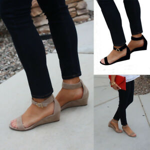 Women-Flat-Wedge-Sandals-Low-Wedge-Heel-Ankle-Strap-Gladaitor-Shoes-Peep-Toe-Sz