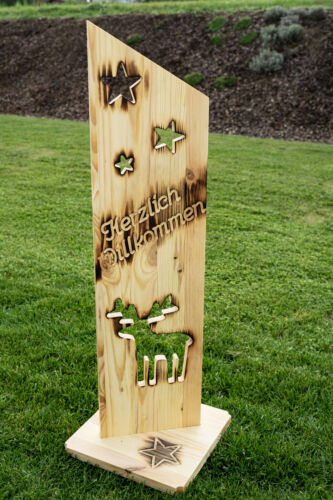 Holz Deko Schild geflammt Herzlich Willkommen NR22 Elch Türschild