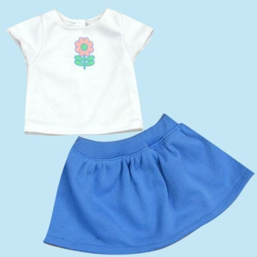 """Doll Clothes 18/"""" Skirt Blue Top White  Flower Fits American Girl Dolls"""