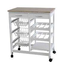 High Quality White MDF Kitchen Trolley Island Dining Cart Worktop Basket Wheels
