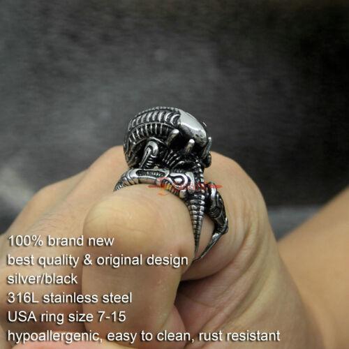 Men/'s Huge Biker Vintage Stainless Steel 3D Alien Skull Skeleton Ring Silver