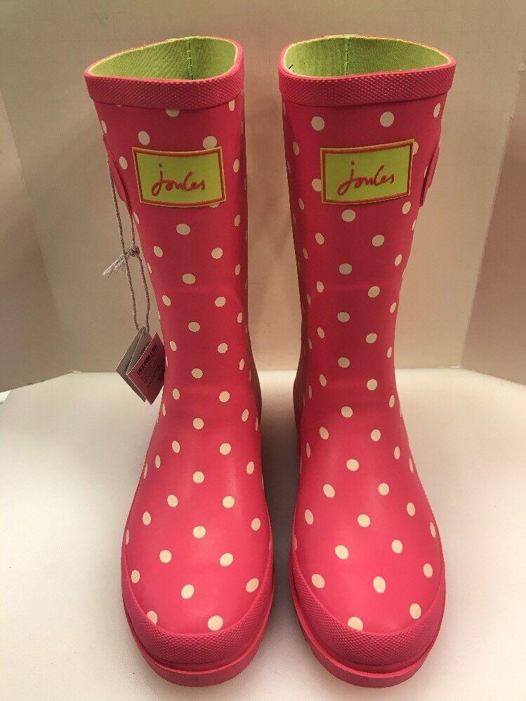 Joules Wellies Girls 6 US 4 UK Rain Boots Waterproof Rubber Pink Polka Dots