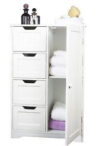 Drawer Bathroom Cabinet Storage Unit Wooden Chest Cupboard White