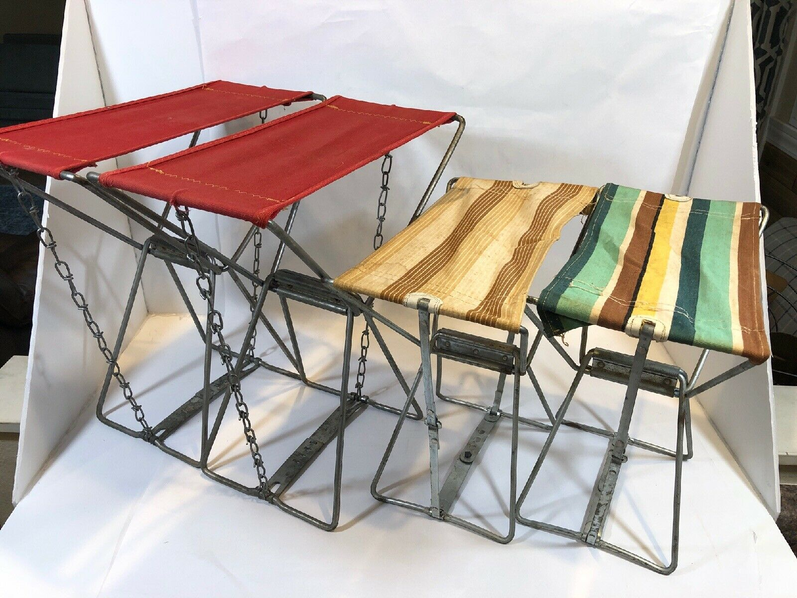 1960's Lot Of 4 Folding Metal Hunting Fishing Camping Chair / Stool Vintage