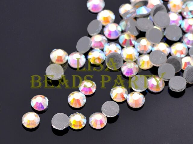New 500pcs SS20 5mm 12 Facets DMC Hotfix Iron On Rhinestones Crystal Clear AB