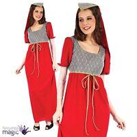 Ladies Red Medieval Juliet Shakespeare Royal Tudor Princess Fancy Dress Costume