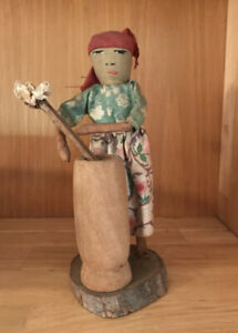 Vintage Doll W/churn From Haiti Wood Hand Made Old Fabric
