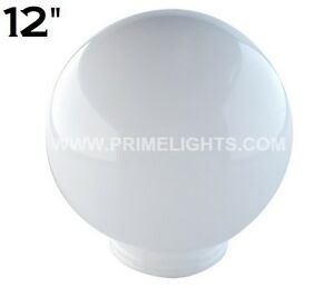 12-034-WHITE-ROUND-GLOBE-OUTDOOR-SPHERES-LAMP-POST-TOP-LIGHT-POLE-ACRYLIC-NEW-POST