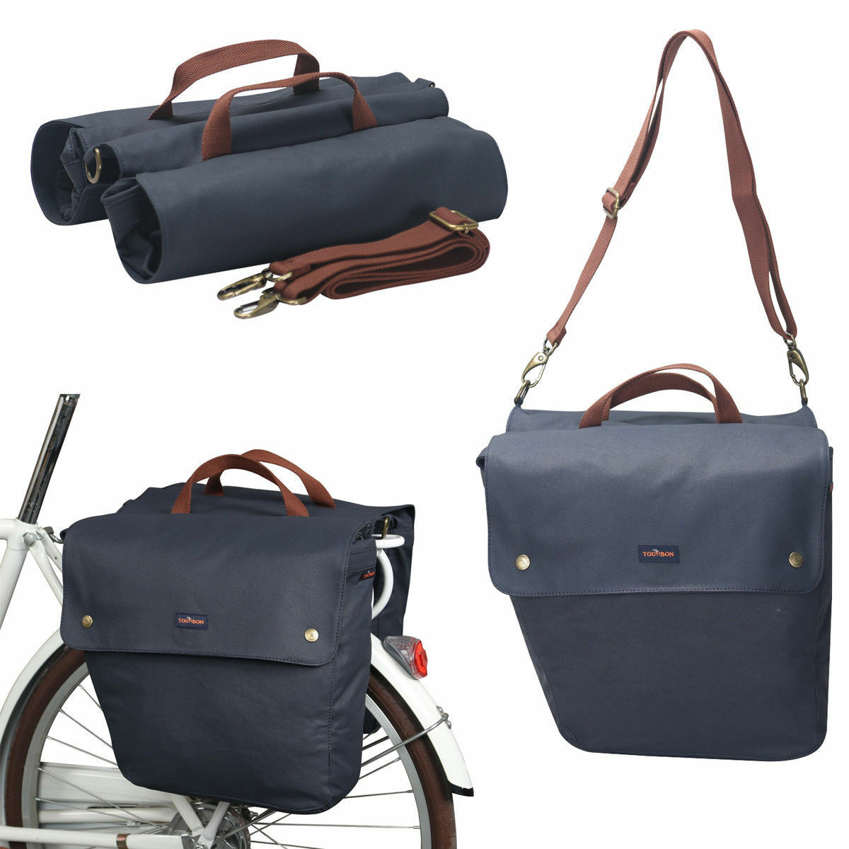 Tourbon Bike Double Side Panniers Bags Roll-Up Rear Market Case Seat Blau Canvas