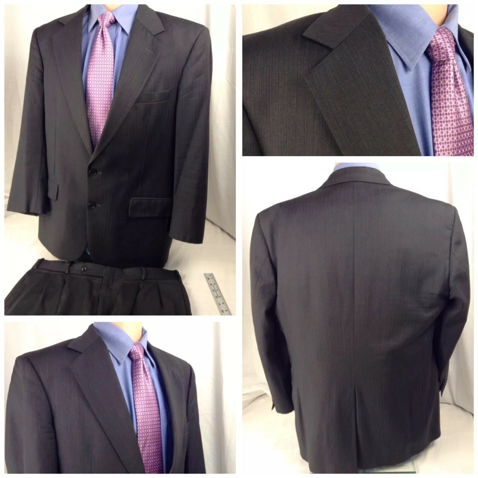 Made To Measure Custom Suit 42R Charcoal Stripe Wool 36x28 Pleats BL151 YGI