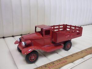 1930s-GIRARD-Stake-Truck-Pressed-Steel-Toy-w-Lights-10-034