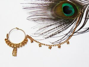 Jwellmart Indian Gold Plated Bridal Bollywood Wedding CZ Chain Nose Ring Nath