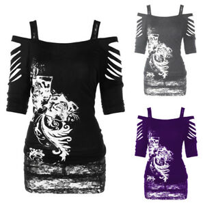 Plus-Size-Womens-Ladies-Off-shoulder-Rock-Gothic-Shirt-Casual-Ripped-Blouse-Tops