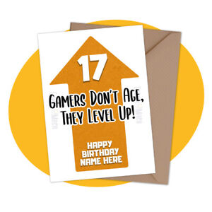 PERSONALISED BIRTHDAY CARD - Gamers Don't Age, They level Up - personalized game