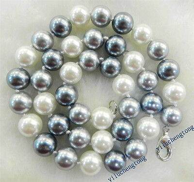 10mm Elegant White Silver Gray Shell Pearl Necklace Bracelets Earrings