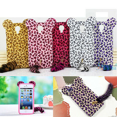 New Cute Lovely Leopard Fox Plush Fluffy Tail Cat Case Cover For iPhone Samsung