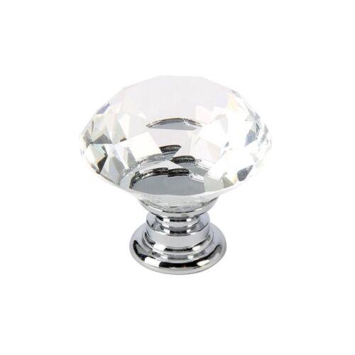 Diamond Crystal Glass Pull Closet Cabinet Drawer Door Knob Handle 30mm