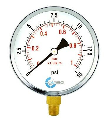 "1/4""npt Hard-Working 4"" Pressure Gauge Lower Side Mnt Chrome Plated Steel Case 15 Psi"