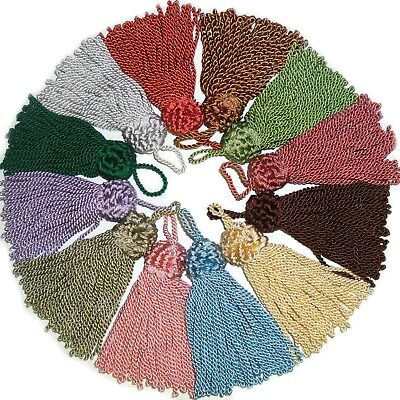 COTTON KEY TASSELS- ASSORTED COLOURS X4 CUSHION CURTAINS BLINDS FABRIC TRIM